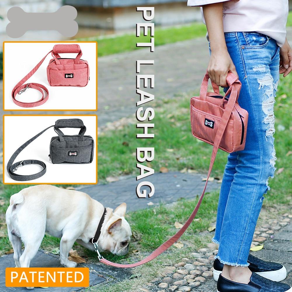 Pet Leash Bag Dog Puppy Walking Leash with Functional Carrier Bag Set for Poopbag or Treat Bag