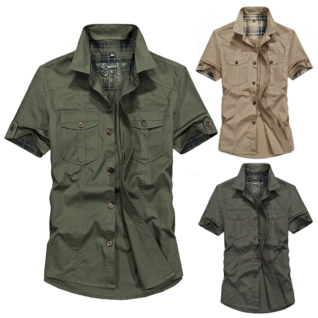 De talla grande militar los hombres de Color puro bolsillo camisa de manga corta blusa M-4XL camisa masculina camisa ropa para Calle de hombre Hawaiano