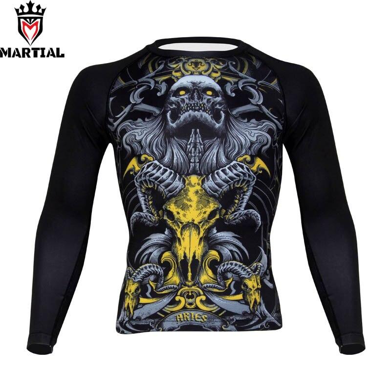 Боевые: Aries печатная ММА быстросохнущая компрессионная рубашка для бокса, Мужская одежда для боевых искусств, одежда для борьбы, рубашка для бега