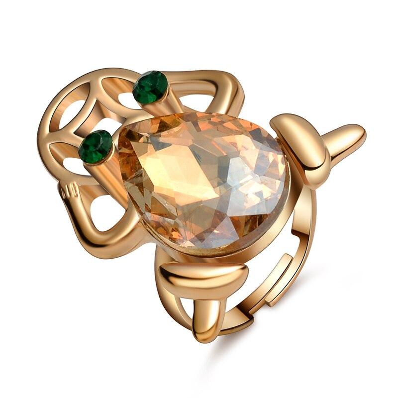 Anel animal bonito rosa cor de ouro chapeado bom moeda sapo anéis feitos com cristal austríaco elementos swa jóias de casamento