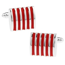 WN offres spéciales/rouge rayure boutons de manchette en haute qualité français chemises boutons de manchette vente en gros/détail/amis cadeaux