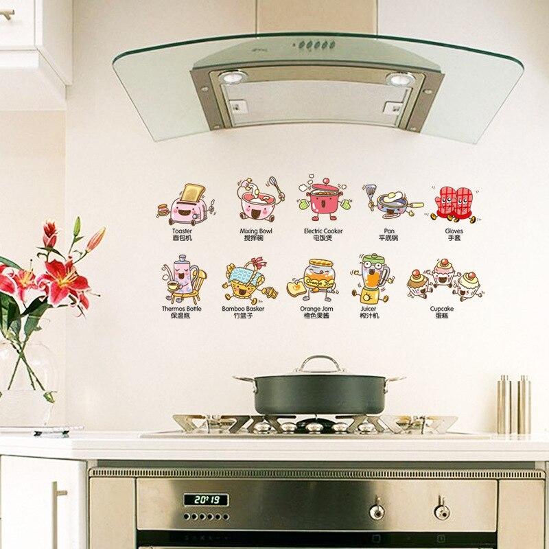 Removível diy cozinha adesivo ferramentas de cozinha à prova dwaterproof água para sala de jantar cozinha telha adesivos decoração