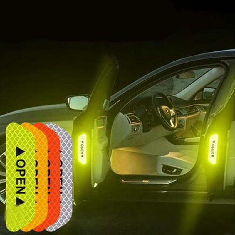 4 Uds cinta reflectante coche advertencia pegatina para marcar accesorios Exterior para KIA RIO K2 K3 K5 Ceed Sportage Sorento alma optima