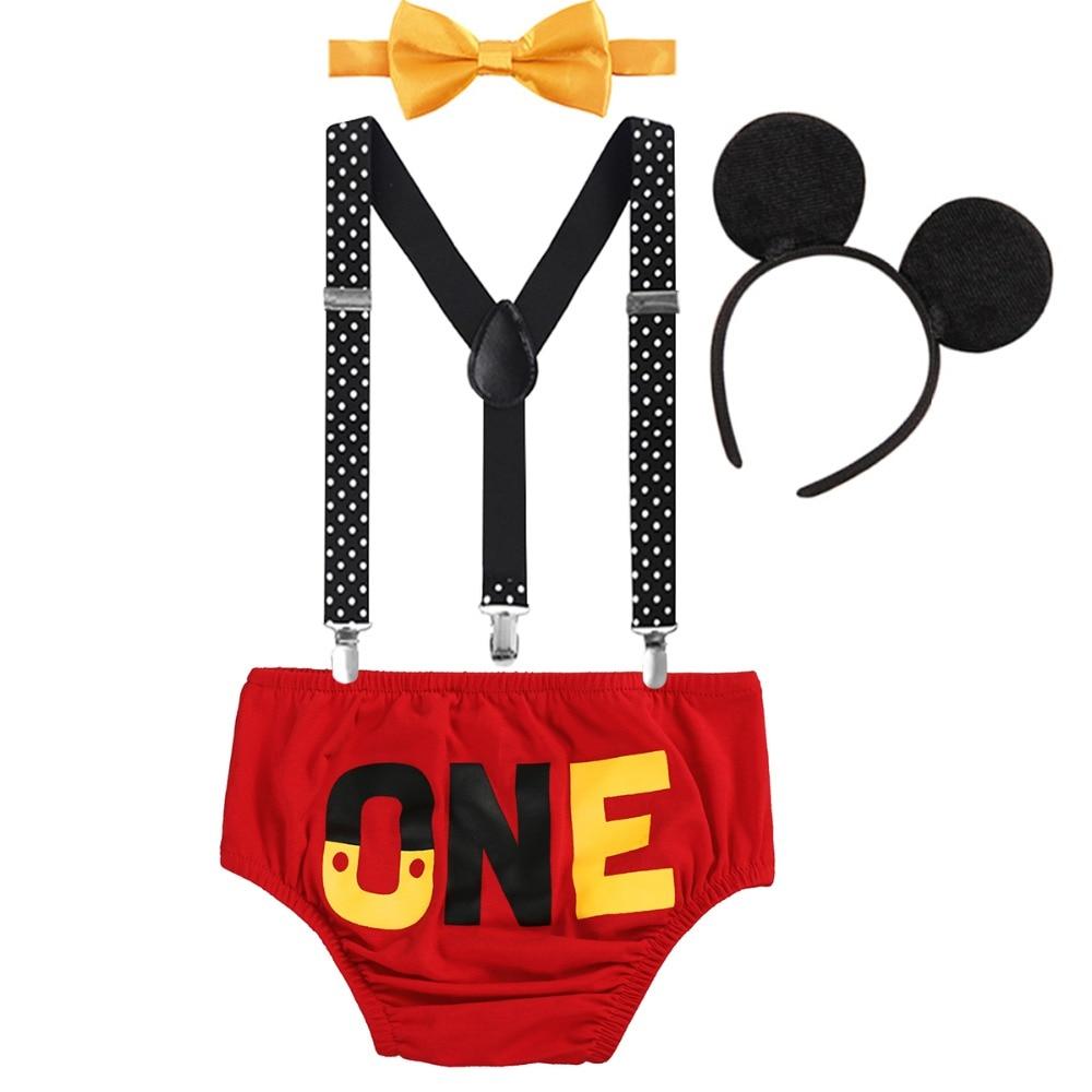 4 pçs conjunto bonito mickey mouse roupas para bebê menina do menino 1st bolo de aniversário quebra roupa fotografia adereços traje bonito do bebê roupas