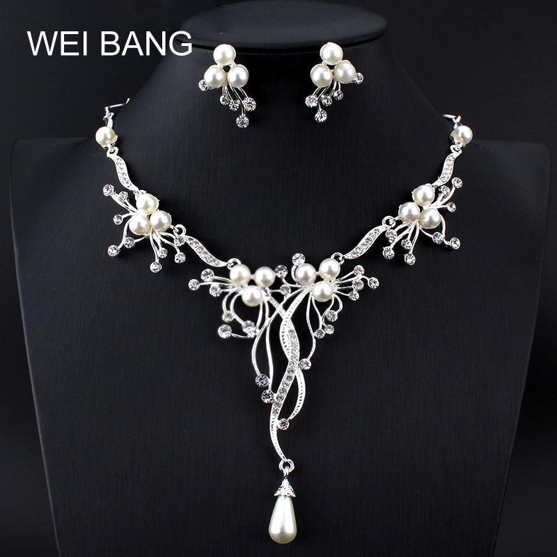 Weibang, collar de perlas de rama de color plateado, pendientes, conjunto de joyería de boda, accesorios nupciales hechos a mano, conjuntos de joyería para mujeres