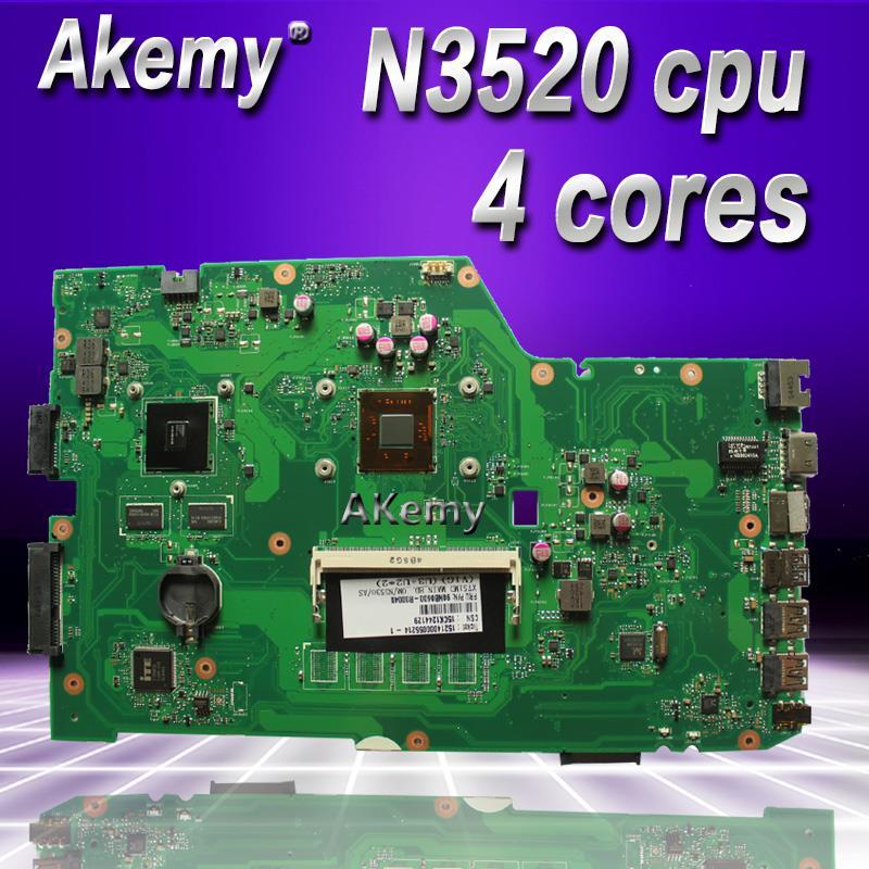 Akemy x751md placa-mãe do portátil para asus x751md x751m k751m teste original mainboard n3520 cpu 4 núcleos 2.167 ghz