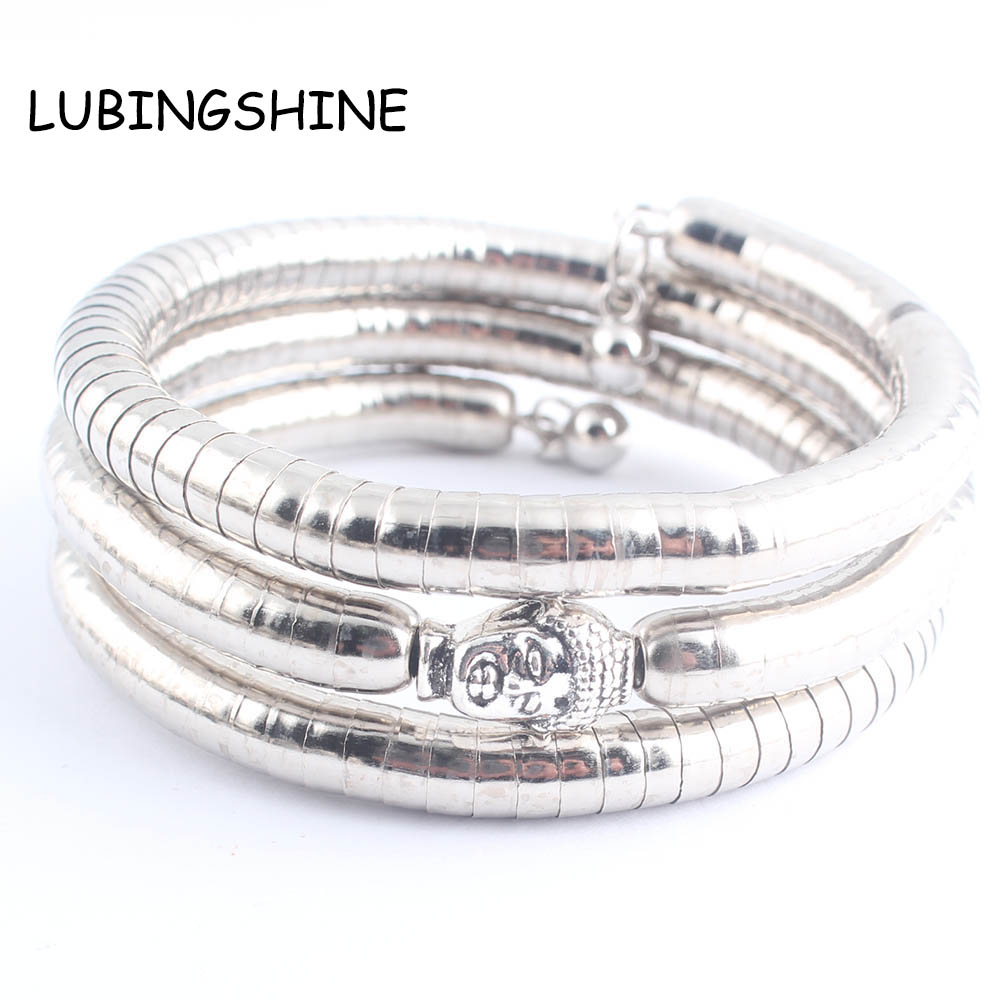 LUBINGSHINE богемные женские ювелирные браслеты pulseira 3 слоя серебряный цвет Лев Будда браслет ювелирные изделия костюм