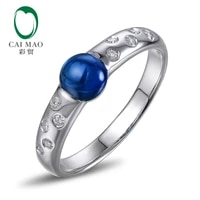 caimao unique 5 0mm cabochon cut 14k white gold 0 1ct diamond engagement anniversary ring