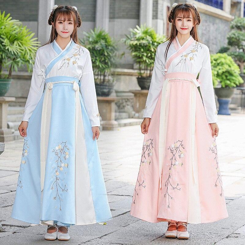 زي Hanfu للفتيات البالغات ، ملابس يومية ، عناصر صينية ، على الطراز الصيني ، لفصلي الربيع والخريف ، للطالبات ، على الطراز القديم ، لعرض مسرحي