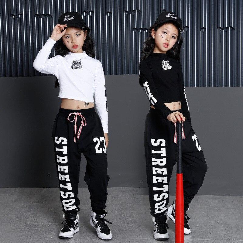 Kinder Hip Hop Kleidung Kleidung Tanz Kostüm für Mädchen Cropped Sweatshirt Shirt Top Jogger Hosen Jazz Ballsaal Tanzen Streetwear