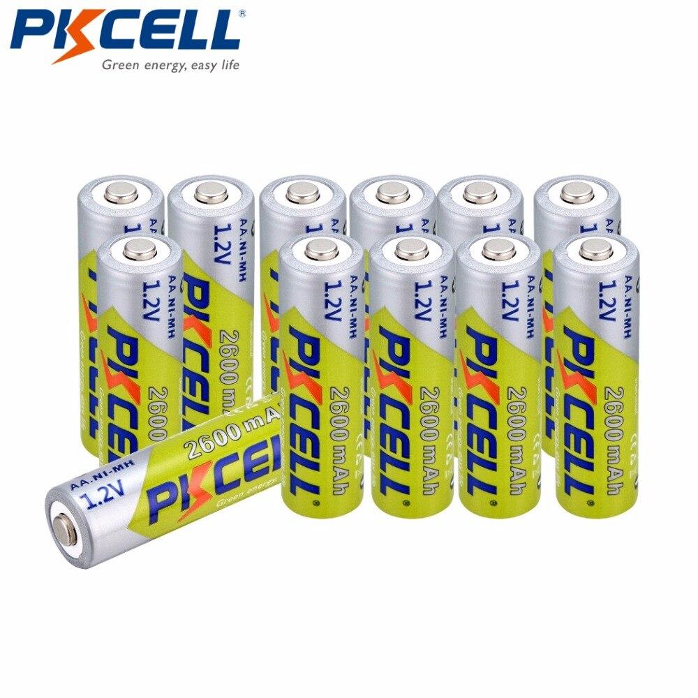 Bateria recarregável de 12 pces pkcell aa bateria ni-mh 2a 2600mah 1.2v aa baterias de bateria recarregável bateria até 1000 circel vezes aa nimh