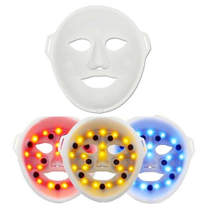 Nueva máscara Facial LED de fotón PDT para rejuvenecimiento de la piel, máscara LED de eliminación de arrugas, máscara LED antiedad eléctrica de 3 colores de la belleza