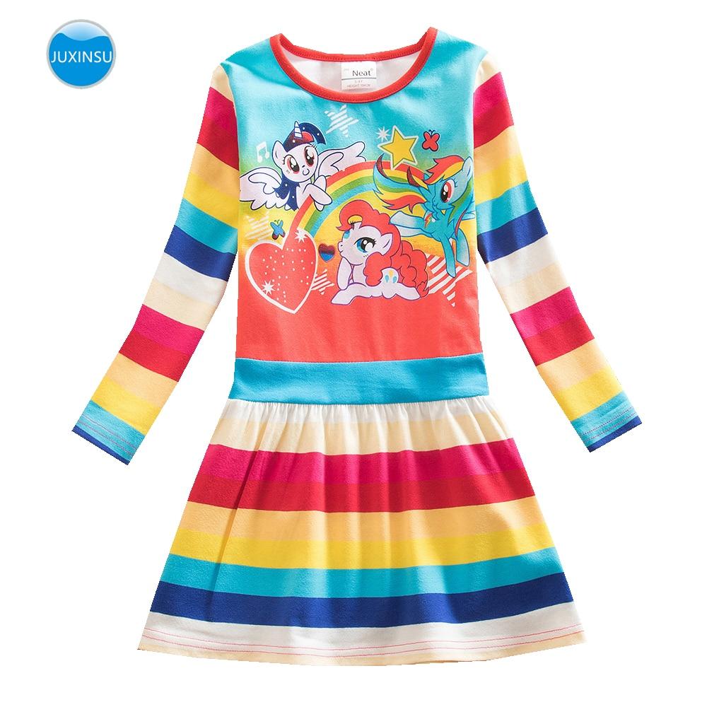 JUXINSU/платья с длинными рукавами и принтом «Мой Маленький Пони» для девочек, радужные платья с длинными рукавами Повседневное платье с пони Домашняя одежда на осень-зиму для детей 1-8 лет