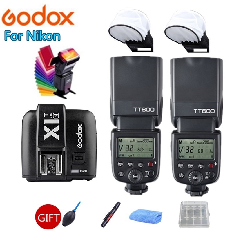 2x Godox TT600 TT600S 2,4G inalámbrico Cámara Flash Speedlite + X1T-N transmisor para Nikon D3200 D3300 D5300 D70 D800 D3X D3 D2X