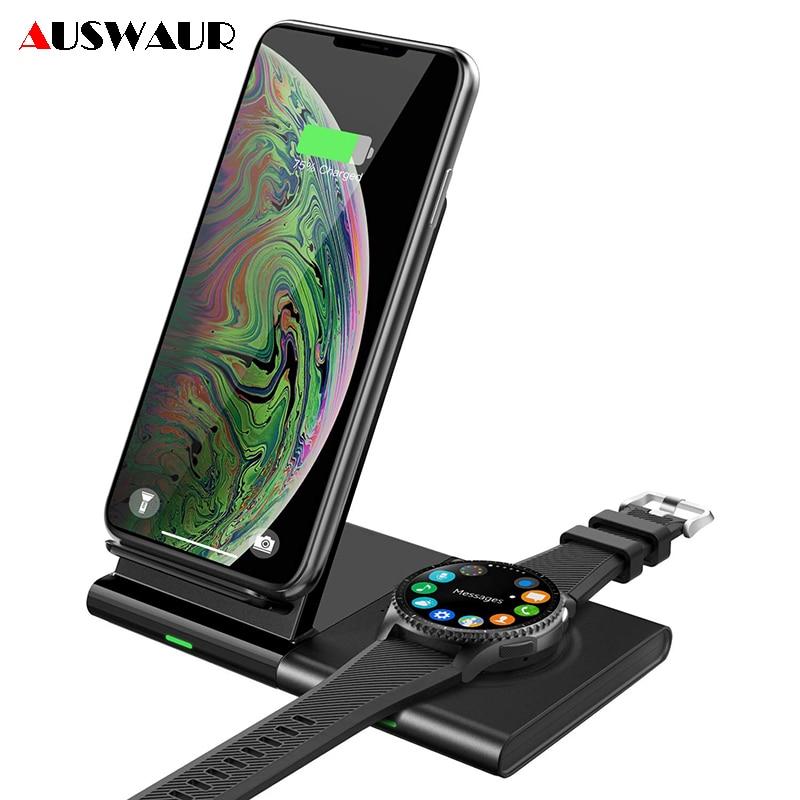 Soporte de carga inalámbrico QI rápido para Samsung Galaxy Watch Gear S2 S3 S4, Airpods deportivos, cargador inalámbrico desmontable para teléfono móvil