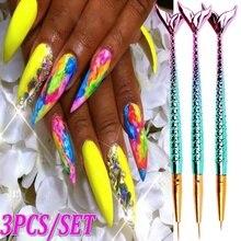 3 PCS/SET Nail Brush Acrylic Nail Art Brushes UV Gel Painting Line Mermaid Brush Nylon Hair Pen Manicure Nail Liner Tools