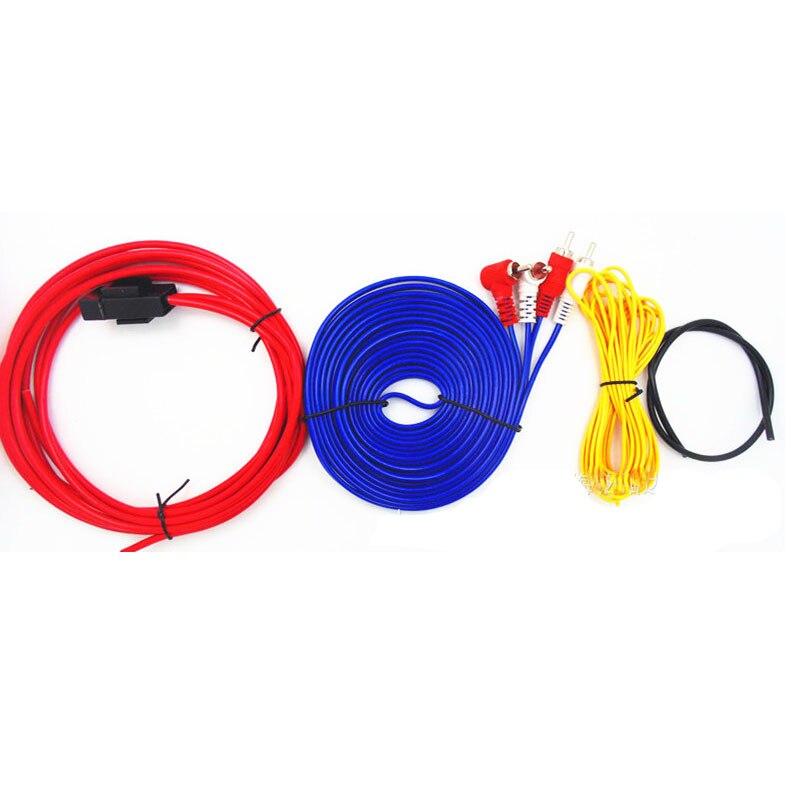 Amplificador de Audio, Subwoofer estéreo, Cable de cobre de 600 vatios, Kit de línea de 8G para coche, cables de altavoz, Kits de amplificador