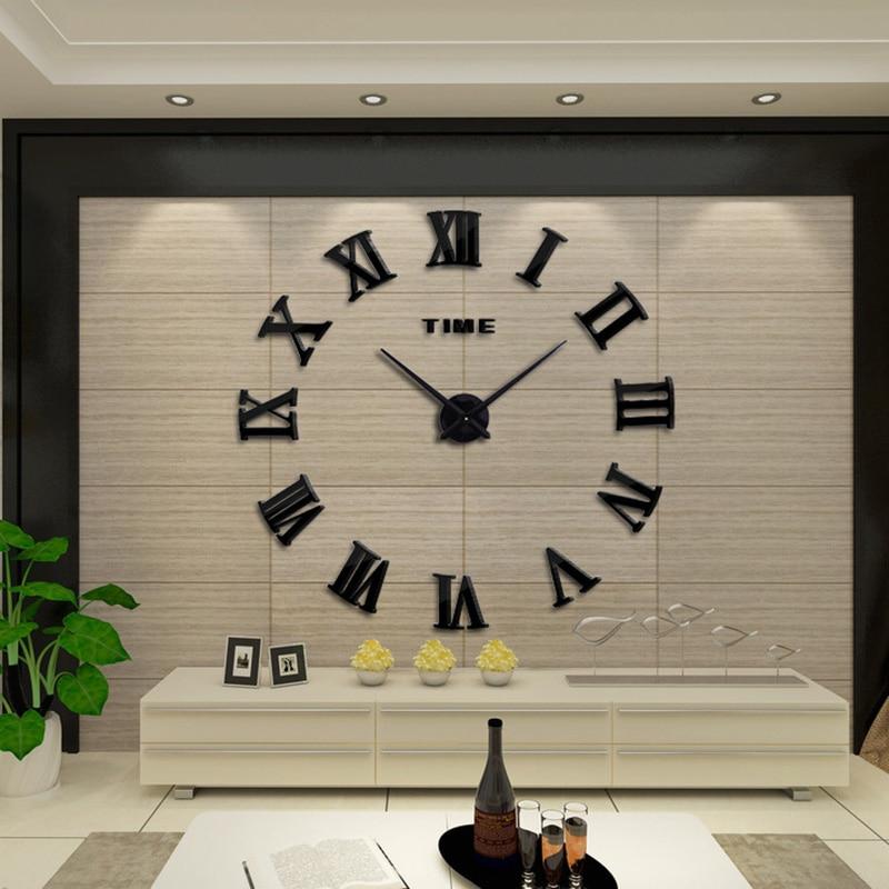 muhsein New 3D Roman Digital Wall Clock diy Acrylic Mirror Home Decor Living Room Quartz Pin Free Shipping