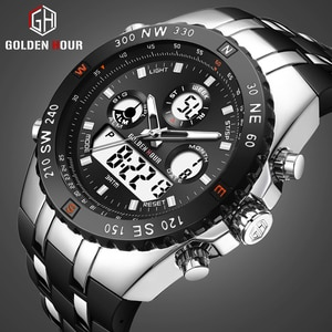 GOLDENHOUR Men Watch Top Luxury Brand Mens Fashion Dual Display Watches Casual Sport Waterproof Wrist Watch Relogio Masculino