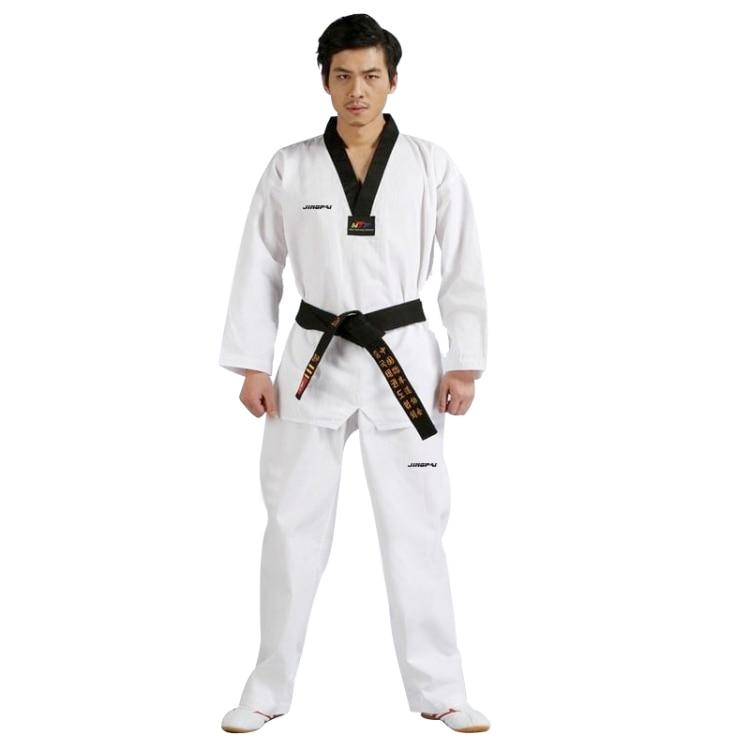 TaeKwonDo white DoBok Korea WTF Black V-Neck TKD Uniforms for Poomsae & Training karate uniform for kids women men free shipping