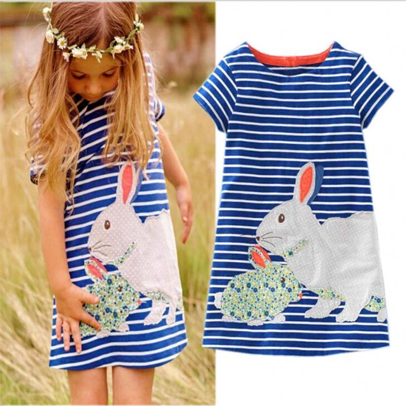 ¡Gran oferta 2018! vestido de algodón de manga larga con diseño de conejo para niñas.