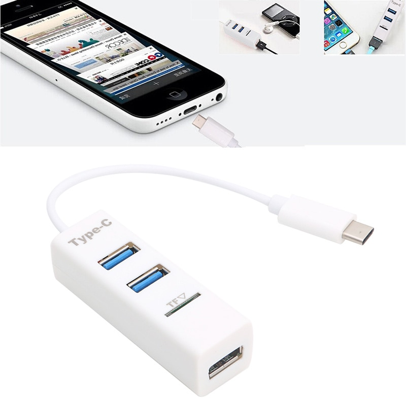 USB 3,1 tipo C a 3 puertos USB 3,0, lector de tarjetas micro-sd, adaptador Hub para Macbook C26