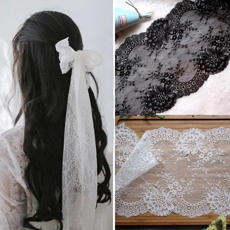 5 ярдов/партия дизайн спандекс эластичный цветок кружева отделка в белый или черный кружевной ткани аксессуары 19 см Ширина