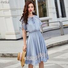 ARTKA 2019 été nouveau femmes robe élégante dentelle creux conception robe bleu romantique deux pièces robes taille élastique robe LA15990X