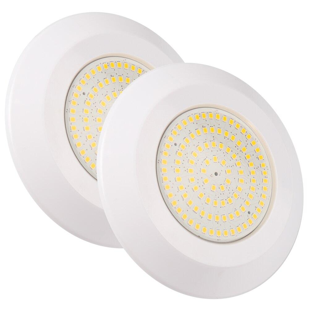 (2 unidades por lote) Lámpara subacuática, luz para piscina resistente al agua rellena de resina, 12V CC, 12W, blanco cálido, foco LED para piscina