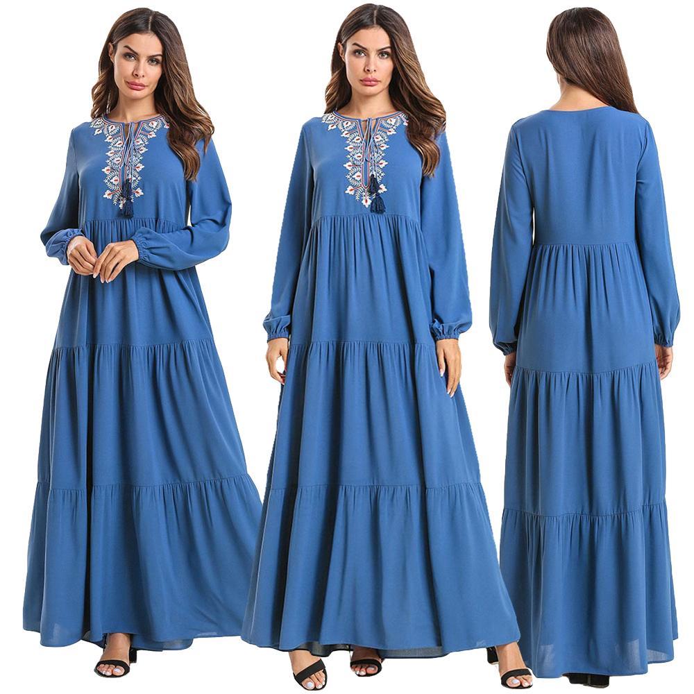 As Mulheres muçulmanas Vestido Longo Maxi Robe Abaya Jilbab Bordado Ramadan Islâmico Dubai Kaftan Femme Étnica Do Vintage Vestido Solto Plus Size