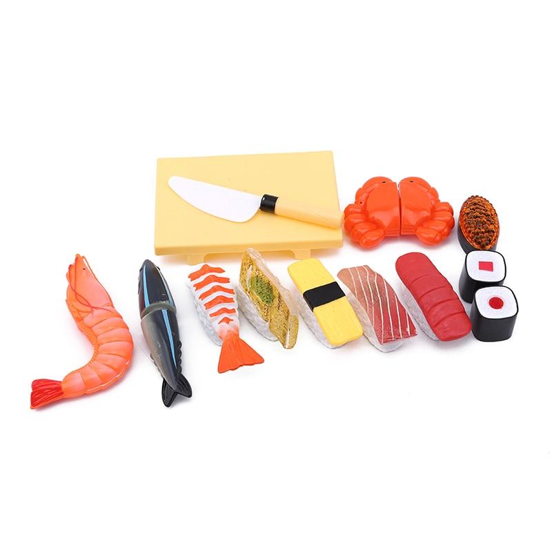Comida de juguete de plástico con Velcro 1 paquete de 12 accesorios, reutilizable varias veces de juguete micro-cut sushi de juguete