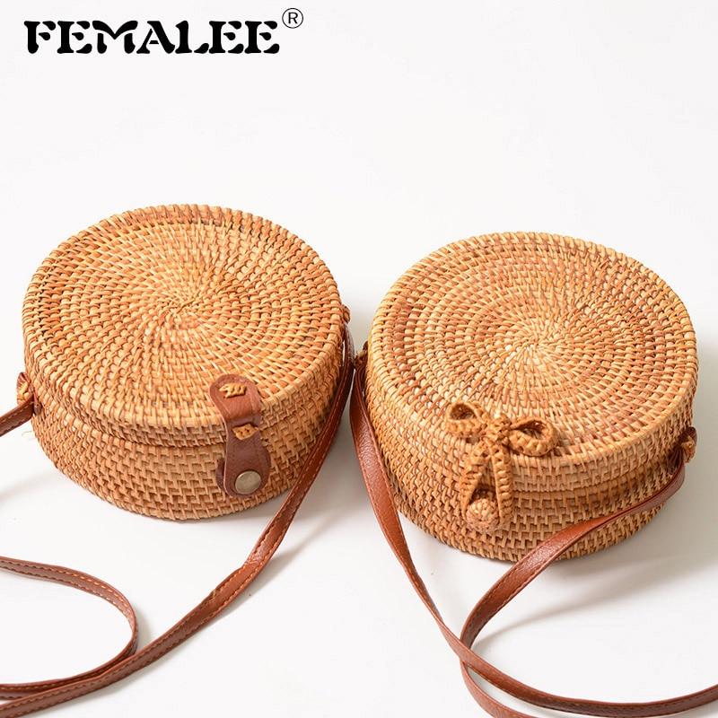FEMALEE دائرية غير رسمية كيس الروطان 2019 Ins الصيف محفظة اليدوية بالي شاطئ الكتف القوس أكياس المنسوجة البوهيمي حقيبة كيس الرئيسي