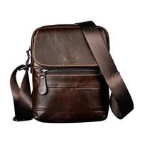 real leather male design small one shoulder bag messenger bag cowhide fashion crossbody bag 8 pad satchel bag 6023