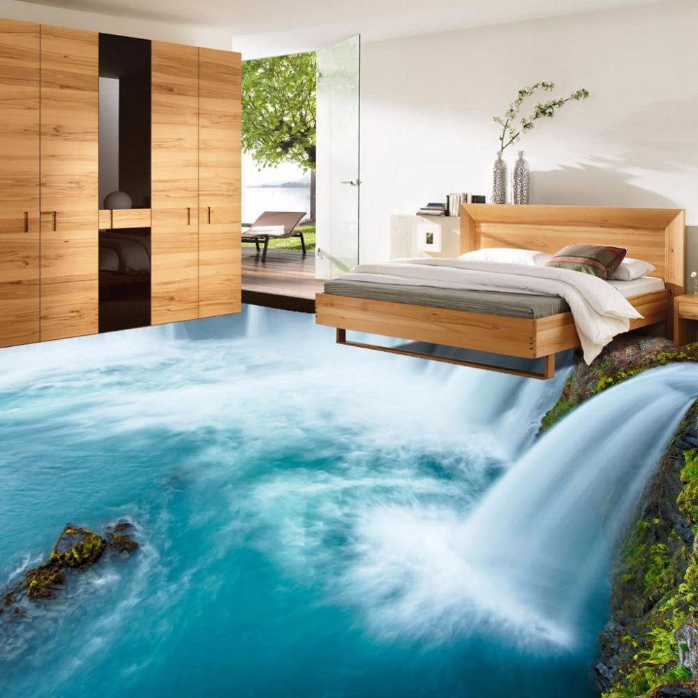 Envío Gratis vogue cascadas creativas 3D suelo de fondo pintura autoadhesiva desgaste suelo mural de papel pintado