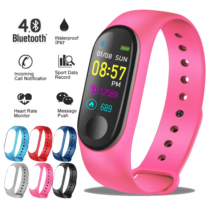 LIGE 2019 nuevo reloj deportivo inteligente para mujer monitor de presión arterial de ritmo cardíaco pulsera inteligente rastreador de fitness podómetro PK M3 band + caja