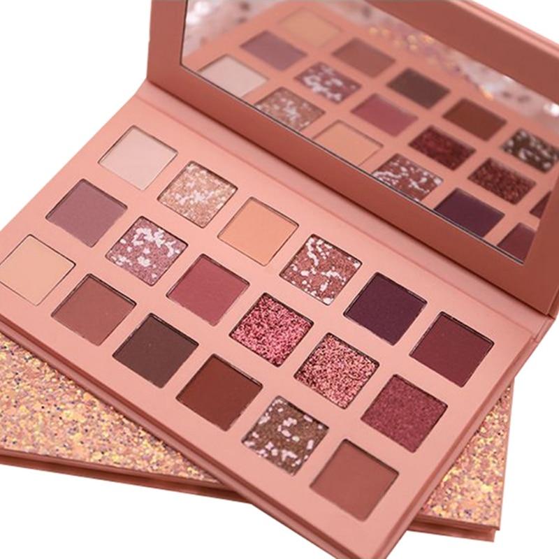 Paleta de sombra de ojos mate brillante de 18 colores pigmentada Natural sombra de ojos en polvo maquillaje Kit de sombras