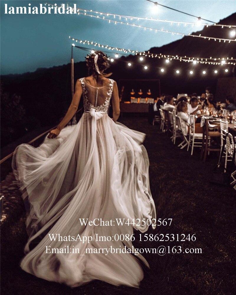 Vestido De boda De talla grande, bohemio, Encaje Vintage De talla grande