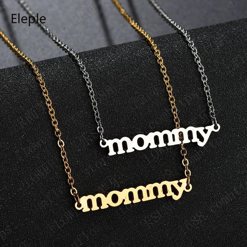 Eleple, collares de acero inoxidable para mamás, regalos para Celebración del Día de la madre, regalos, joyería de moda, fabricante S-N652
