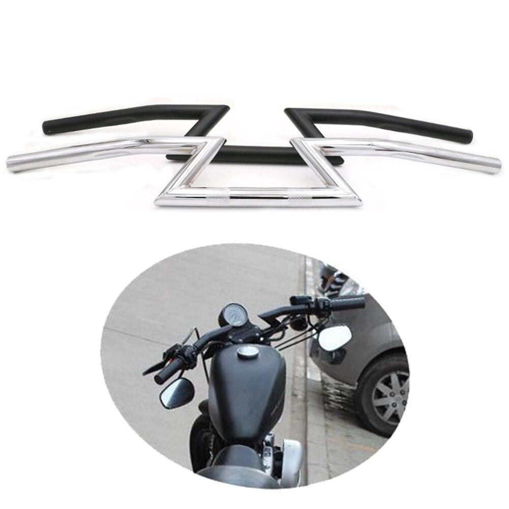 "Guidão Da Motocicleta Universal 7/8 ""22mm Z Bar Para Harley Honda Yamaha Suzuki Kawasaki Chopper Bobber Cafe Racer Preto/Chrome"