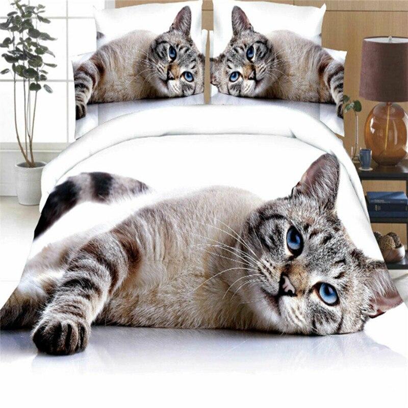 Juego de cama con estampado fotográfico de perros y gatos y lobos lindos juego de edredón funda de edredón Animal salvaje Tribal 3D funda de cama dos fundas de almohada juego de cama