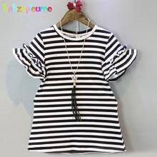 2016 Summer Baby Girls Clothes Fashion Dresses Stripe Short Sleeve Princess Dress Loose Kids Costume Children Clothing BC1400