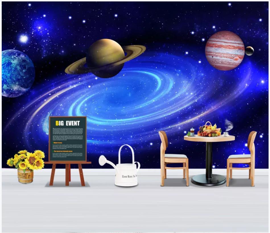 Papeles de pared de fotos personalizados 3d pared murales papel tapiz 3D moderno planeta línea cielo estrellado Fondo mural papeles tapiz decoración del hogar