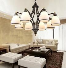 النمط الأوروبي الحديد قلادة ضوء الزجاج مصباح الطعام غرفة الجلوس غرفة إضاءة المنزل تعليق أضواء