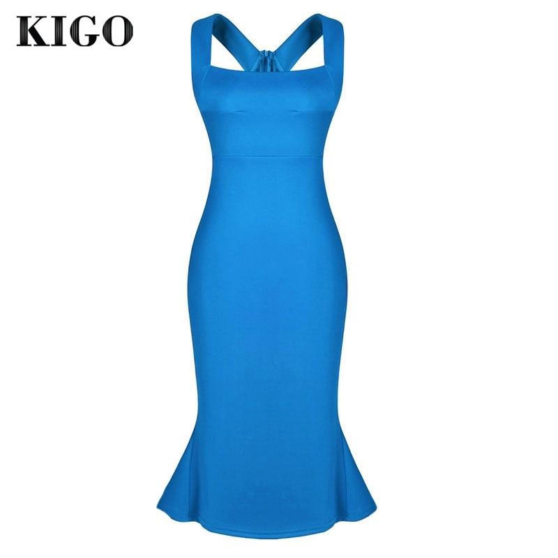 KIGO Azul Vestido de Festa