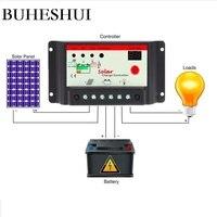 BUHESHUI Solar Panel System 10A 12V/24V Solar Charger Controller System LED lighting Solar Regulator 10pcs/lot