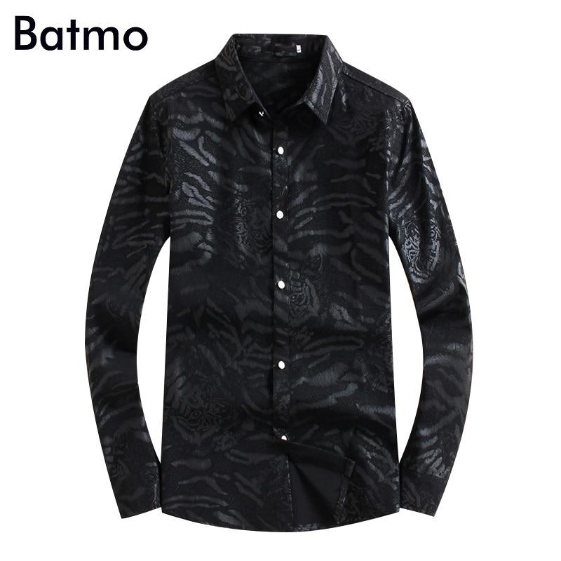 Batmo قميص غير رسمي مطبوع عالي الجودة للخريف 2019 جديد ، قمصان مطبوعة للرجال ، قمصان سوداء للرجال بمقاسات كبيرة 18101