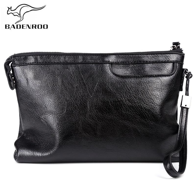Мужской клатч Badenroo, мягкий кожаный деловой бумажник-конверт, высокое качество, удобная сумка, большие мужские кошельки с запястьем
