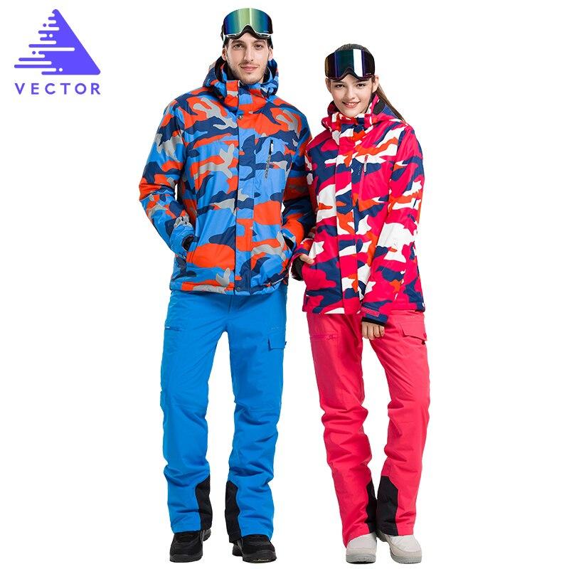 Профессиональные лыжные костюмы для мужчин и женщин, куртки и брюки, теплые зимние водонепроницаемые комплекты одежды для катания на лыжах ...