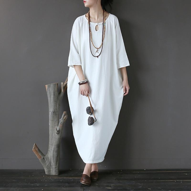 Винтажное платье из хлопка и льна в китайском стиле, женское платье большого размера, свободное повседневное длинное платье средней длины, ...