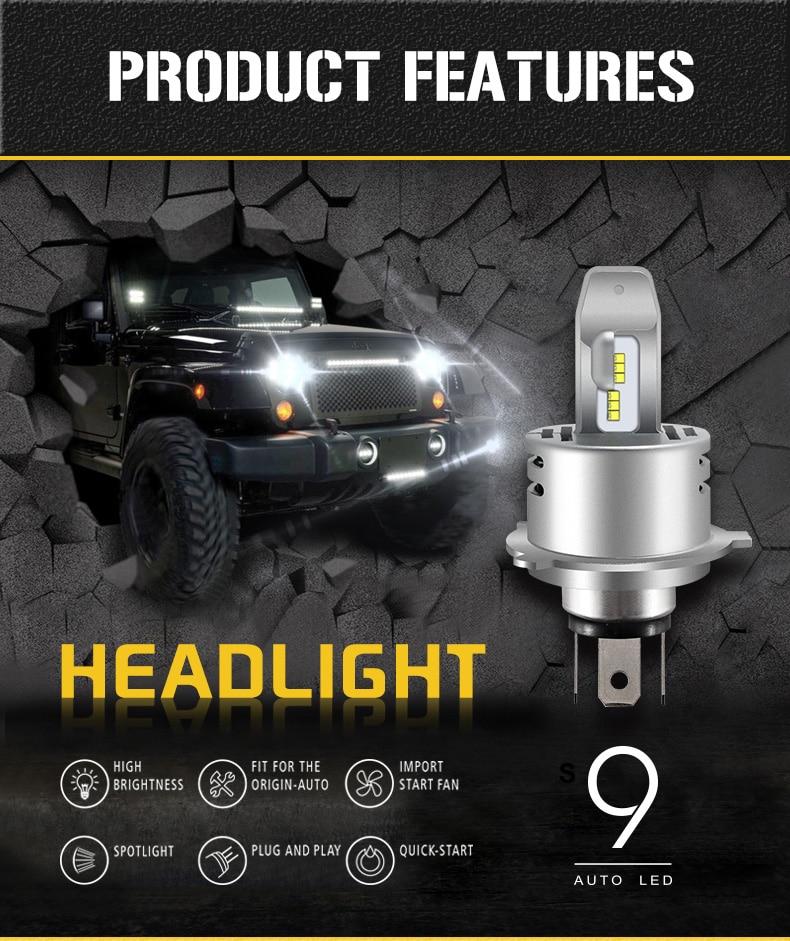 Kit pequeno! philips zes chip h4 h7 led 80 w 8000lm 9 s integrado farol do carro oi/lo feixe lâmpadas de automóvel 6000 k branco canbus universal
